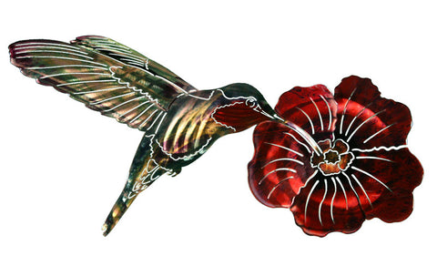 Hummingbird Nectar Metal Wall Art Sculpture