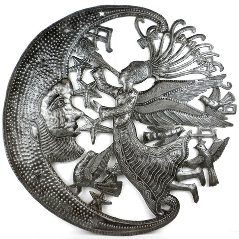 Angel Moon Visit Handcrafted Metal Wall Art
