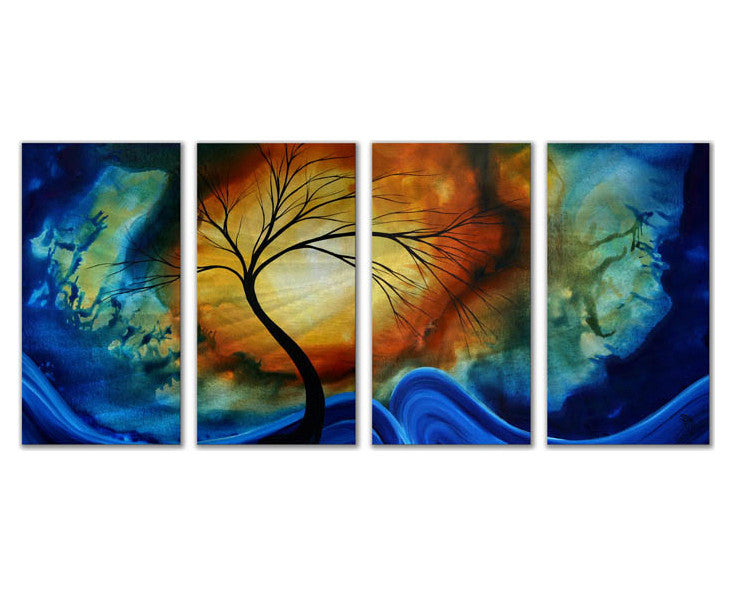 Salutations of Color 4-Panel Handmade Trees Metal Wall Hanging