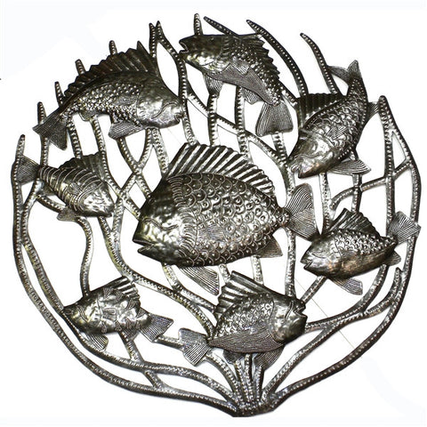 Coral School of Fish Metal Wall Art
