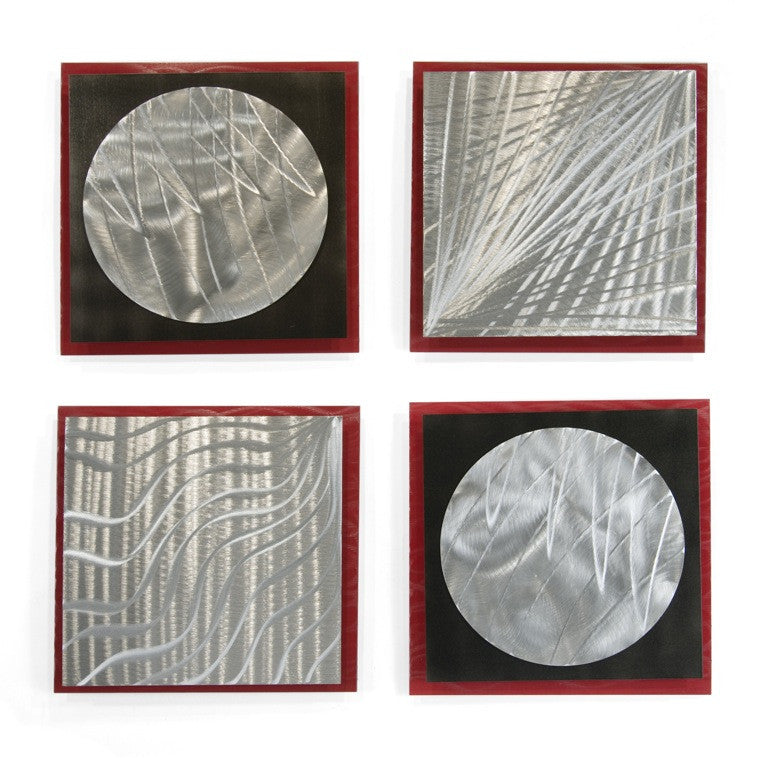 Abstract Vortex Modern Wall Sculpture Set of 4