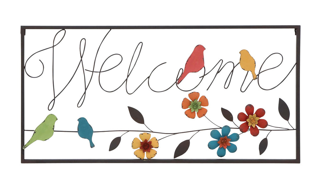 Birds and Blooms Welcome Sign