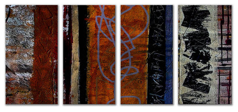 Delectable Dissension Four-Panel Abstract Metal Wall Hanging