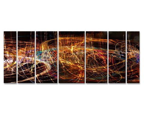 Neon Freeway Seven-Panel Abstract Metal Wall Sculpture