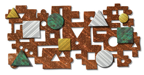 Abstract Organics Geometric Puzzle Metal Wall Hanging