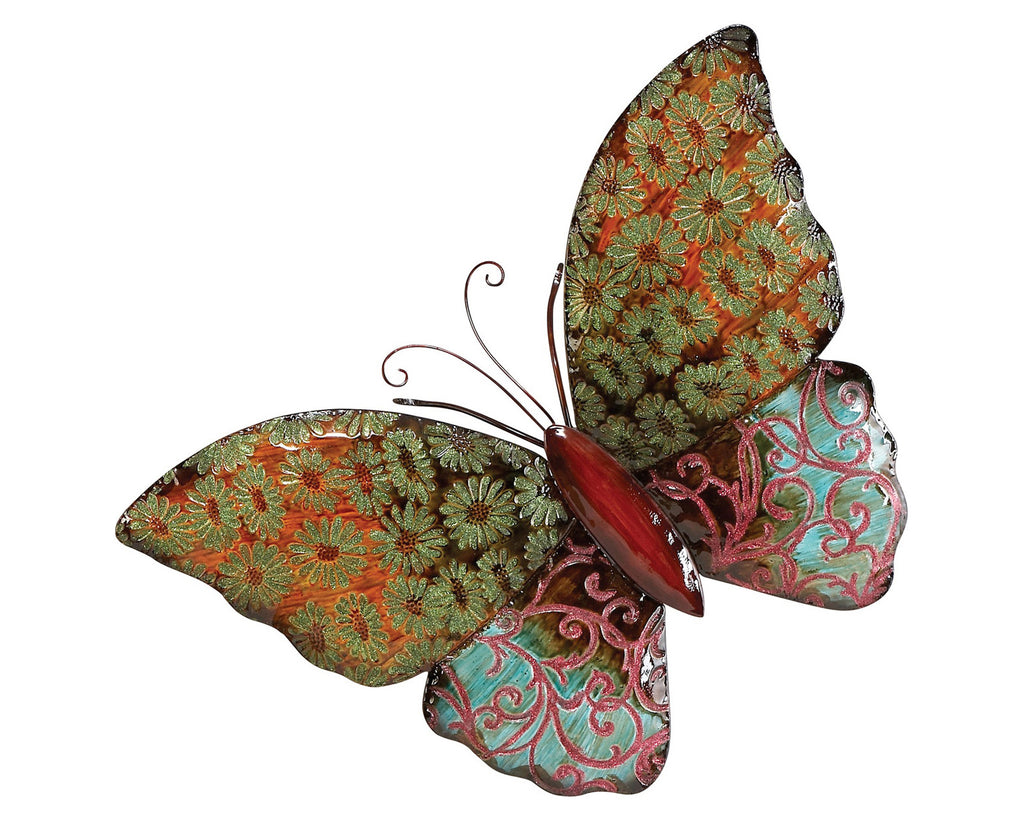Bejeweled Wings Butterfly Metal Wall Sculpture