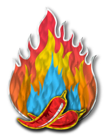 Flaming Peppers Cut-Out Metal Wall Sculpture
