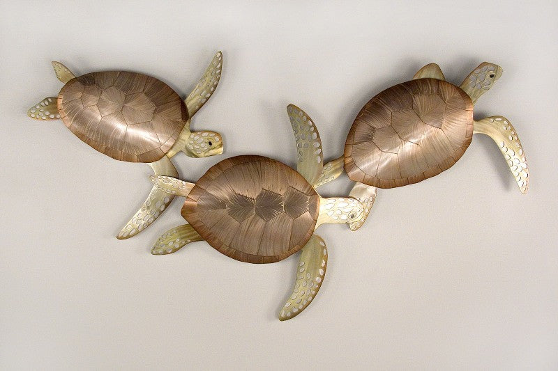 Swimming Sea Turtle Trio Metal Wall Art