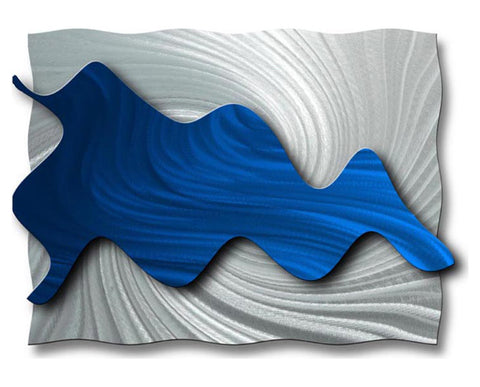 Blue Waves Abstract Metal Wall Sculpture