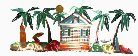 Beach Cottage with Palm Trees Metal Wall Art