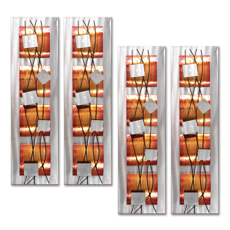 Copper Conundrum Set of Four Metal Wall Art Sculptures