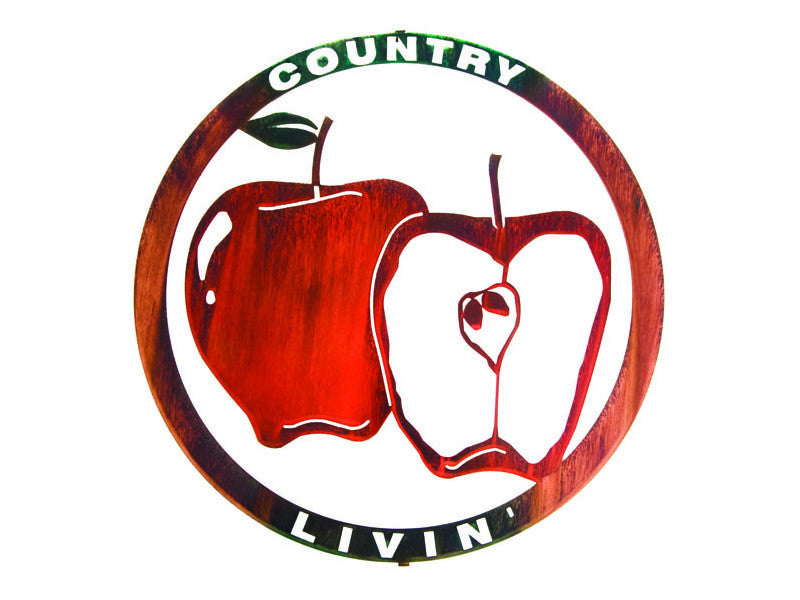 Country Apple Cut-Out Metal Wall Sculpture