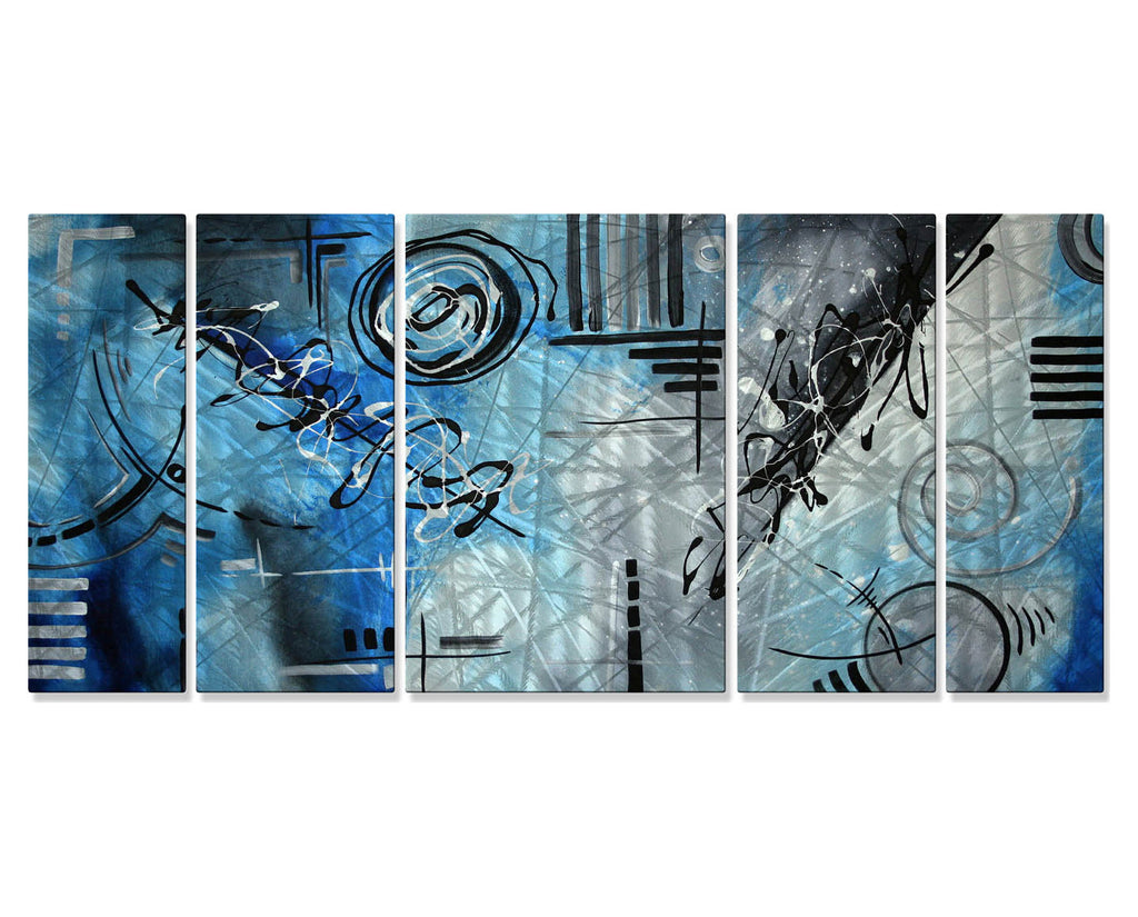 Blue Reckoning Abstract Wall Art Set of 5