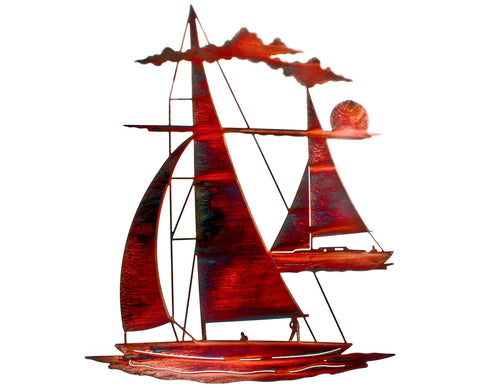 Peaceful Sailboats Metal Wall Sculpture