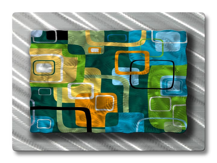 Retro Tiles Abstract Geometric Metal Wall Art
