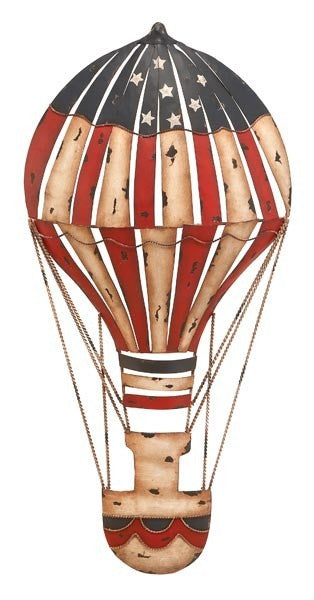 Americana Hot Air Balloon Metal Wall Hanging