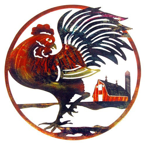 Barnyard Rooster & Red Barn Metal Wall Art
