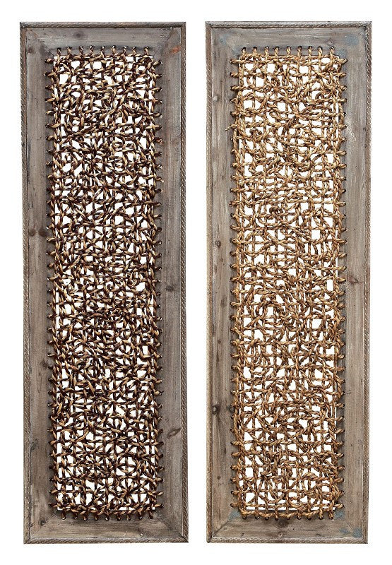 Abstract Knots Wood Wall Panels Set of 2