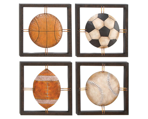 Game Time Sports Metal Wall Art Set of 4
