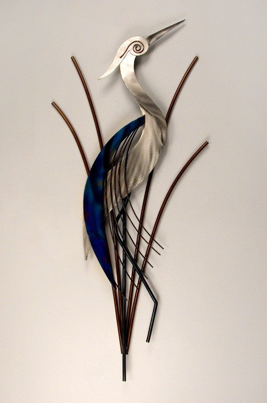Graceful Heron in the Reeds Metal Art