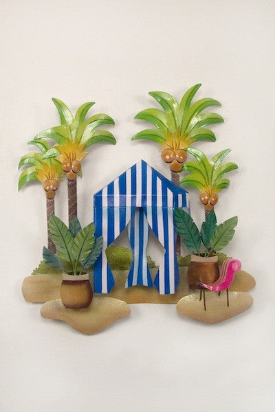 Beachside Retreat Under the Palms Metal Wall Hanging