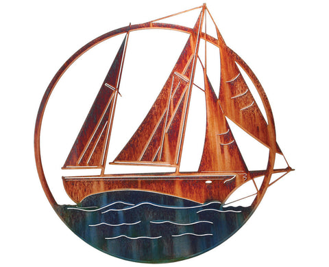 Sailboat on Open Water Metal Wall Sculpture