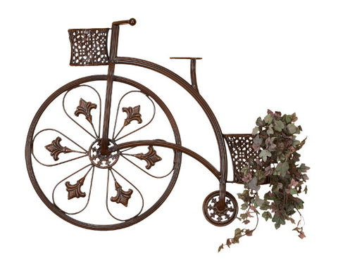 Elegant Wrought Iron Bicycle and Wicker Baskets Metal Wall Decor
