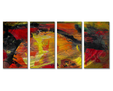 Citrus Sensation Four-Panel Abstract Metal Wall Hanging