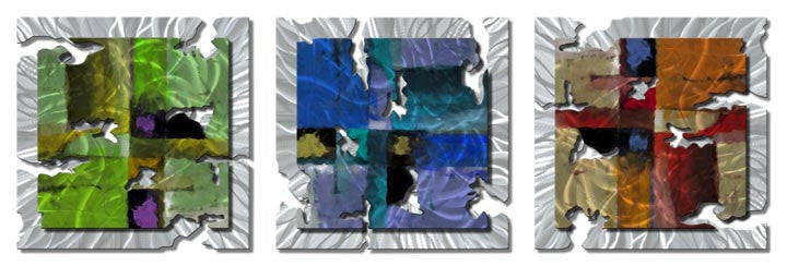 Three-Panel Blocky Abstract Metal Wall Hanging