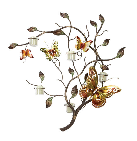 Butterflies of Summer Metal Wall Sculpture Candle Holder