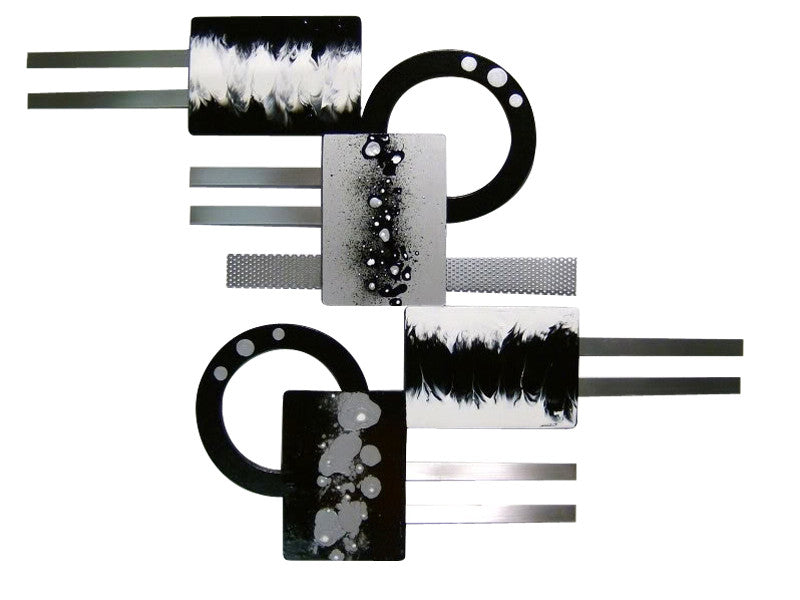 An Echo in Monochrome Handmade Wood & Metal Wall hanging
