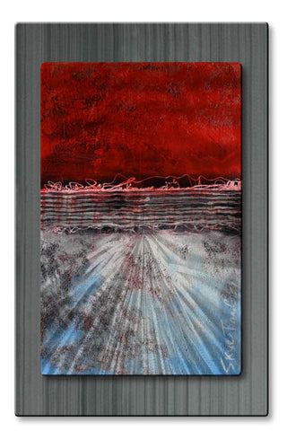 Field of Red Abstract Metal Art