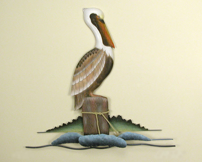 Resting Pelican Metal Wall Art Decor