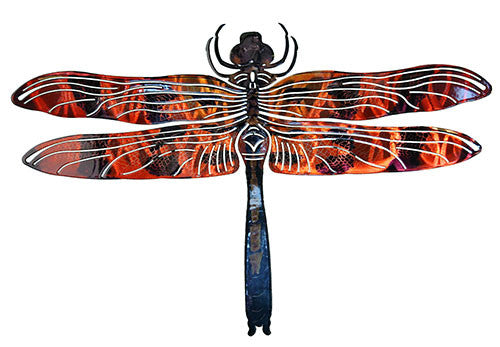 Colorful Dragonfly Laser Cut Metal Wall Art