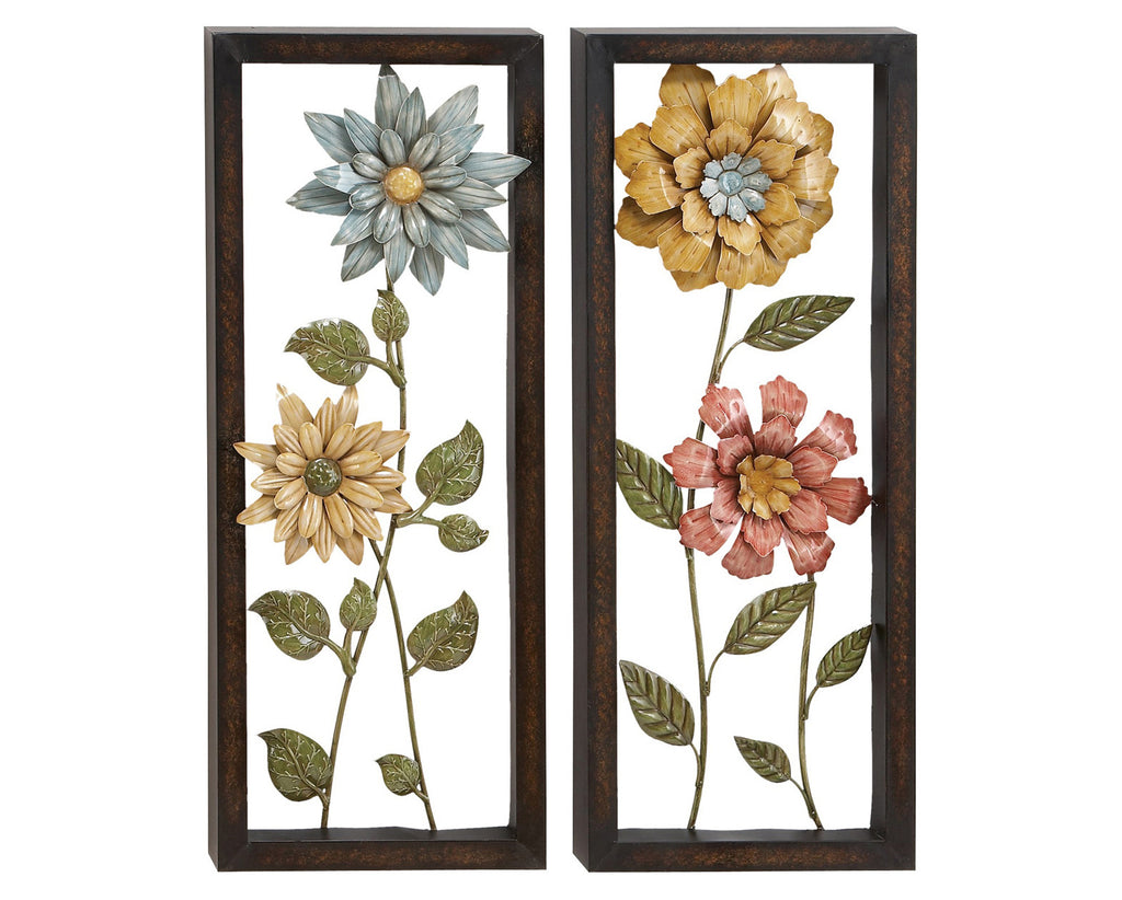 Bachelor Buttons Floral Metal Wall Hanging Set of 2