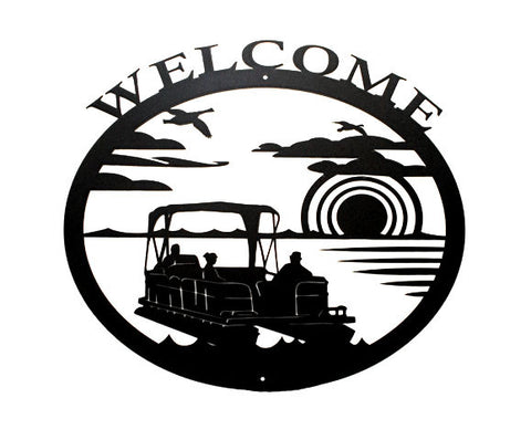Pontoon Lakeside Welcome Wall Hanging