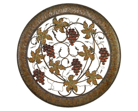 Bountiful Grapes Round Metal Wall Hanging