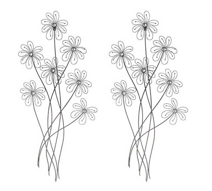 A Basic Bouquet Floral Wire Art Set of 2