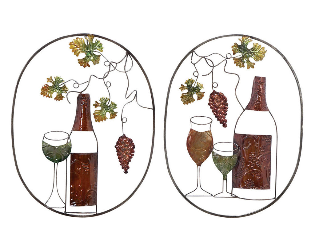 Awaiting Wine and Grapes Set of 2