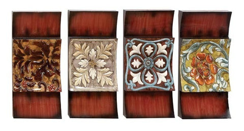 Abstract Floral Four-Panel Metal Wall Art