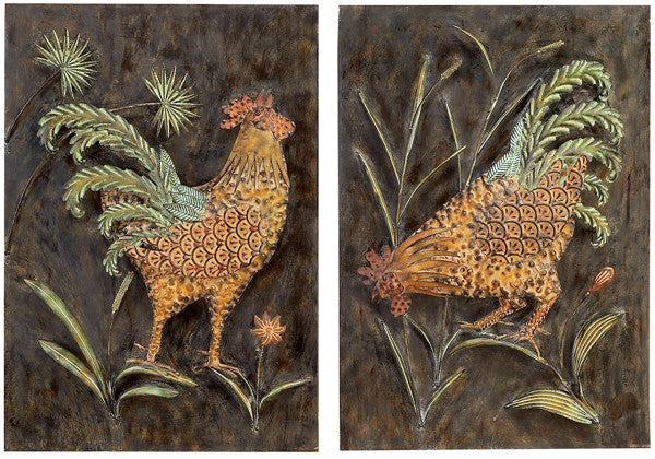 Crowing Roosters Wall Hangings Set of 2