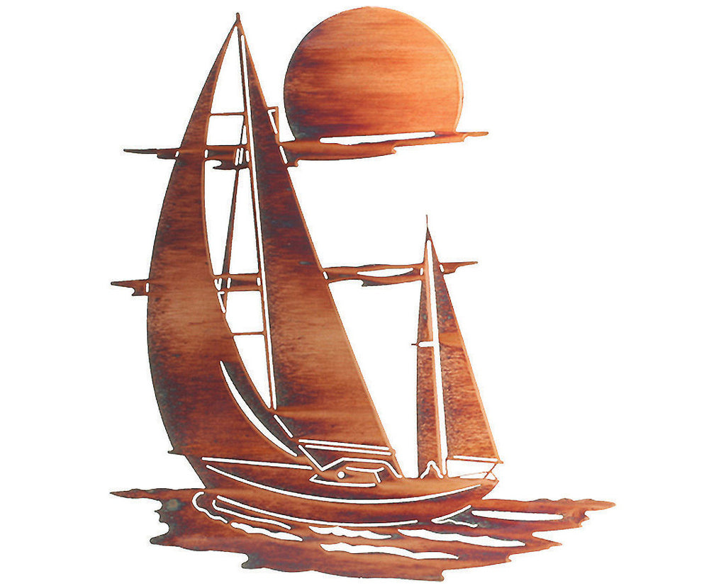 Sailboat of Tranquility Metal Wall Sculpture