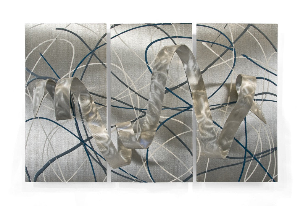 Freeform Ribbon and Curvaceous Metal Abstract Wall Art Set of 3
