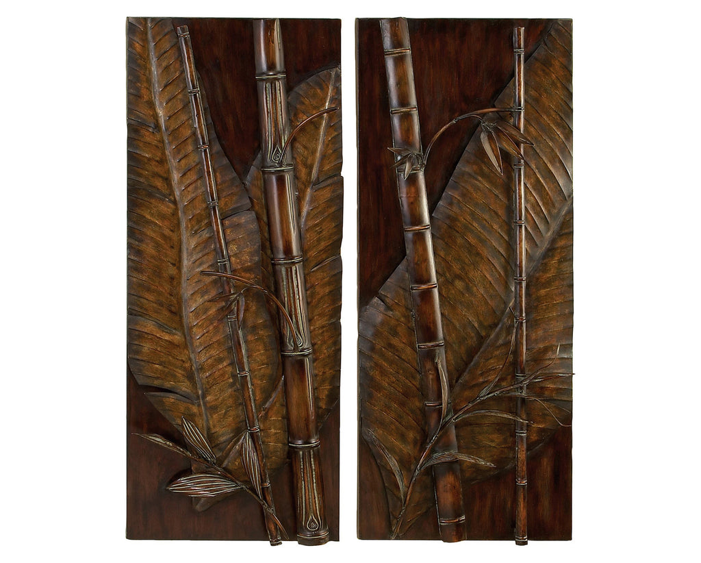 Tropical Bamboo 3D Metal Wall Art Set of 2