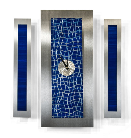 Blue Fluidity Abstract Wall Clock