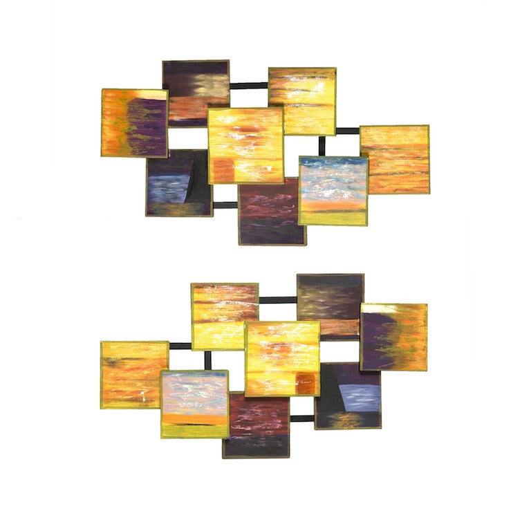 Sunrise Abstraction Two-Panel Metal Wall Hanging