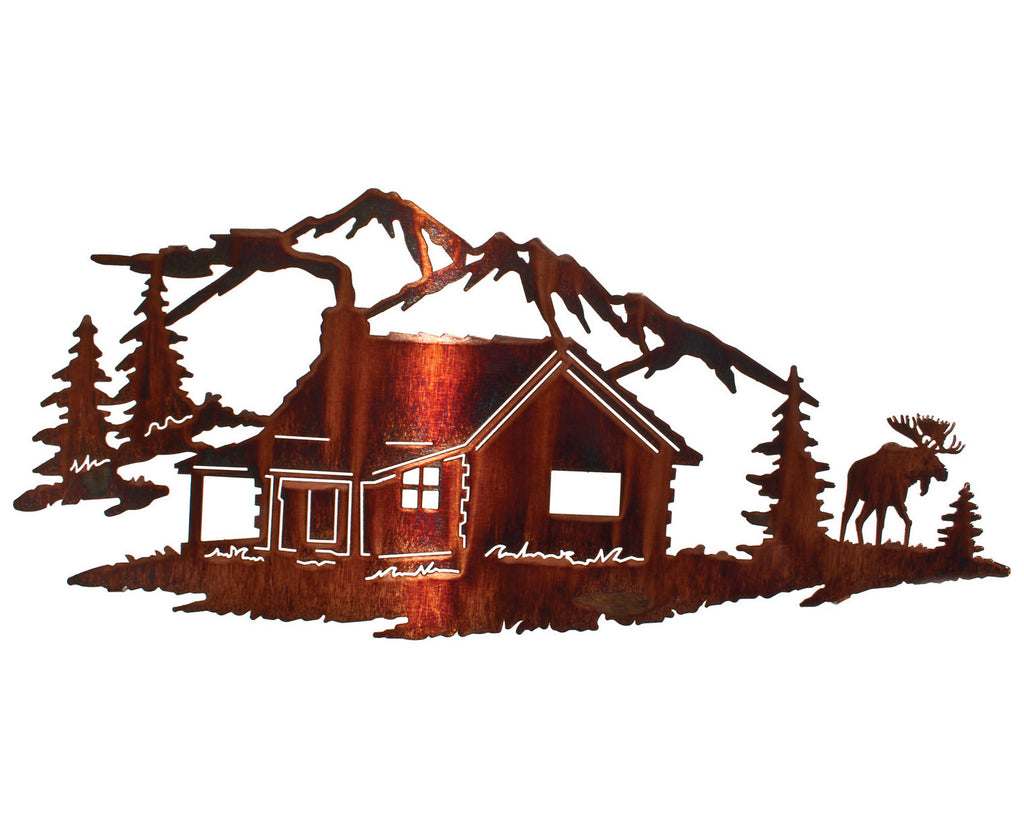 Log Cabin in the Northern Woods Metal Wall Art