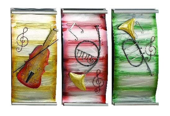 Colorful Musical Instrument Trio Metal Wall Art