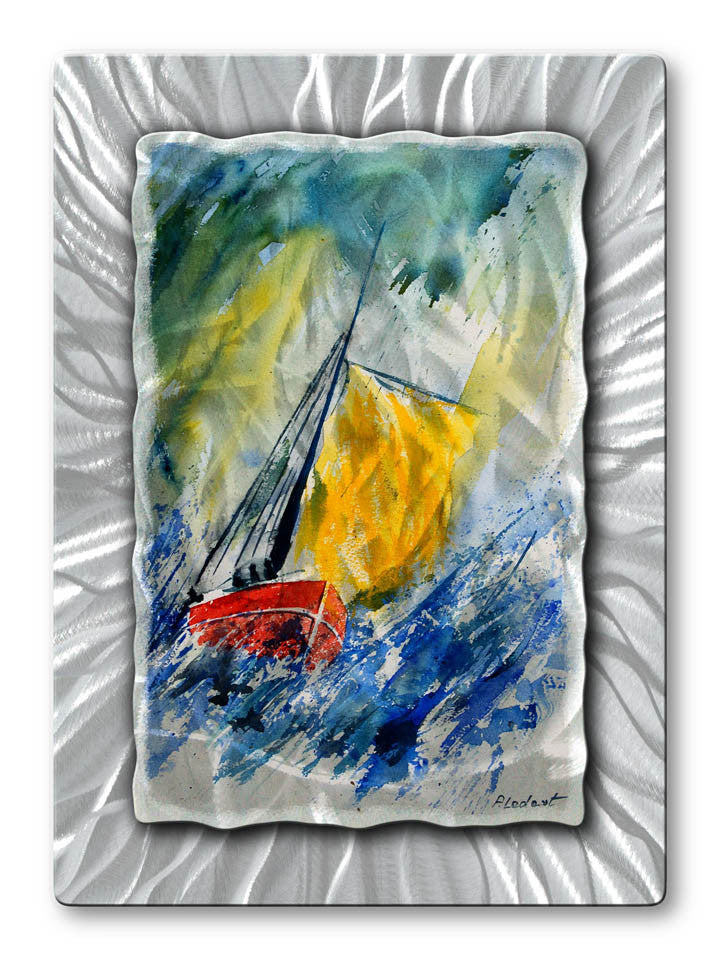 Sailboat on Stormy Seas Metal Wall Art
