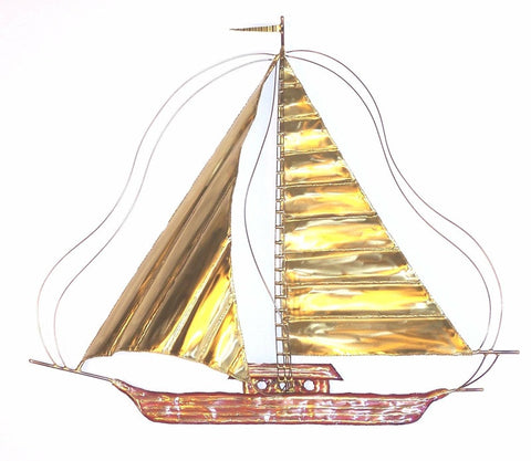 Captain's Skiff Brass and Copper Metal Wall Art